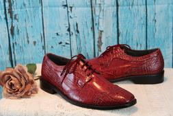 NICE! Stacy Adams Raimondo Mens shoes Red LEATHER Cap Toe Ox