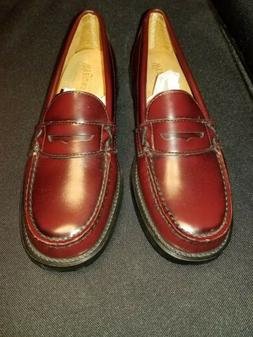 NWOB Women's 7.5M Weejuns Bass Wine Red LEA Penny Loafers Sl