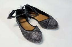 NWT Old Navy Toddler Girls Size 5 Silver Ankle Strap Pointy