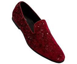 Amali Men's Paisley Velvet Smoking Slipper Loafer Dress Shoe