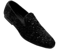 Amali Men's Paisley Velvet Smoking Slipper Loafer Dress Shoe
