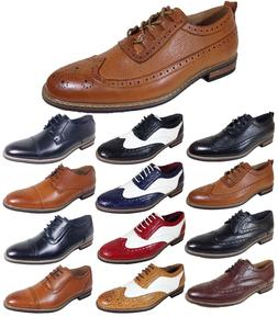 Parrazo Men Dress Shoes Wingtip Oxford Leather Lined Lace Up