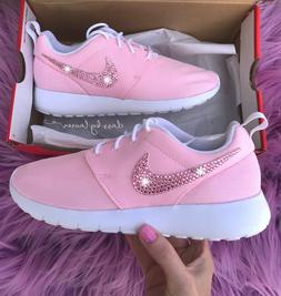 Pink Roshe One Women 6 Customized with Swarovski Crystals