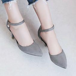 Plus Size Women's Mary Janes High Heel Pointed Toe Pumps Ank