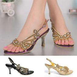 Plus Size Women's Rhinestones Sexy High Heels Sandals Even