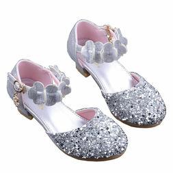 Princess Shoes for Girls Sandals Heel Glitter Shiny Rhinesto