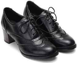 Odema Womens pu Leather Brogue Oxfords Wingtip Lace Up Dress