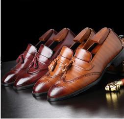 PU leather men tassel slip on office oxford formal loafers b