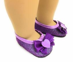Purple Glitter Dress Shoes made for 18 inch American Girl Do
