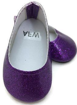 """Purple Glitter Slip On Dress Shoes made for 18"""" American Gir"""