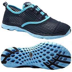 ALEADER Women's Quick Drying Aqua Water Shoes Blue 7 D US/FR