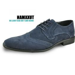 Really Nice New Men's Blue Wing Tips Faux Suede All Sizes TU