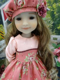 "Rose Bouquet - dress, hat, tights & shoes for 14.5"" Ruby Red"