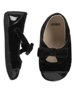 Gymboree Royal Black Bow Crib Dress Shoes Infant Girl Size 2