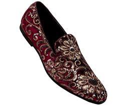Amali Men's Sequin Embroidered Plush Velvet Smoking Slipper,
