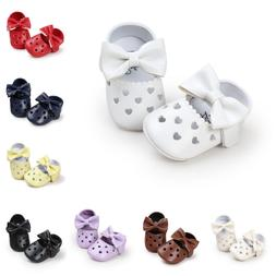Shoes For Baby Girl Big Bow Hollow Heart-Shaped Flat Dress S