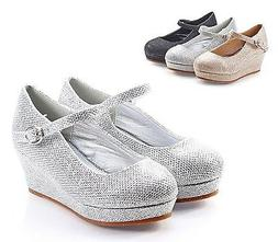 Silver Blink Glitter Pumps Buckle Girls Kids Heels Toddler D