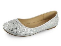 TOP MODA Silver Evelyn Flat Dress Shoes - Women Sz 10M  BRAN
