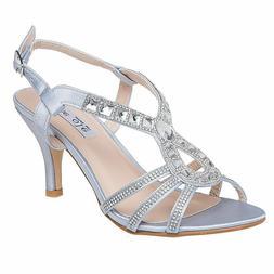 Silver Women's Low Heel Formal Wedding Bridesmaid Sandals Dr