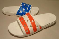 Crocs Size 10 CLASSIC AMERICAN FLAG SLIDE White Sandals New