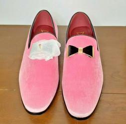 Enzo Romeo Size 11 Pink Velvet Tuxedo Shoes New in Box Black