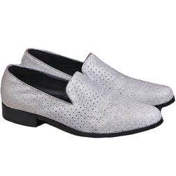 Size 5-13 Fashion Silver Genuine Leather Slip On Loafers Cas