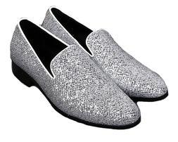 Size 5-13 Fashion Sliver Genuine Leather Slip On Loafers For