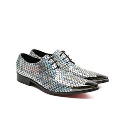 Size 5-13 Silver Genuine Leather Lace Up Pointed Oxford Form