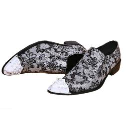 Size 5-13 Silver Genuine Leather Slip On Pointed Loafers Cas