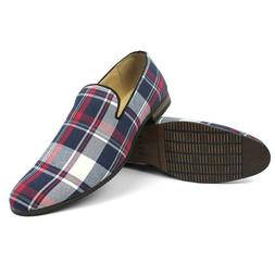 Slip On Loafers Plaid Blue Red White Mens Dress Shoes Modern