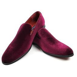 Slip On Purple Burgundy Velvet Loafer Modern Formal Mens Dre