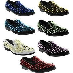 Amali Velvet Spiked Smoking Loafers Men's Slip On Tuxedo Des