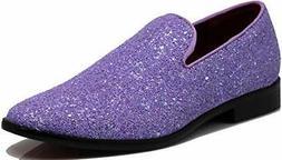 SPK04 Men's Vintage Glitter Dress Loafers Slip On Shoes Clas