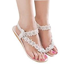 Tenworld Women Summer Bohemia Flat Sandals Flower Beads Beac