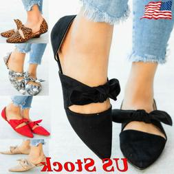 Summer Cute Womens Pointed Toe Ballet Flat Bow Tie Slip On S