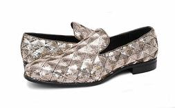 Mens 9.5 Stacy Adams Swank Gold Geometric Sequins Loafer Pro