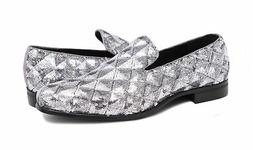 Stacy Adams Swank Silver Geometric Sequins Loafer Prom Dress