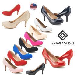 DREAM PAIRS Women Slip On Pump Shoes Low Heel Ladies Elegant