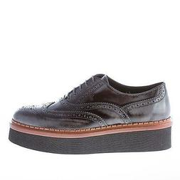 TOD'S women shoes Grey leather lace oxford brogue wingtip ma