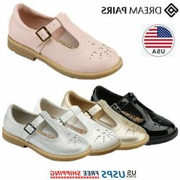 DREAM PAIRS Kids Girls Uniform Dress Shoes T-Strap Mary Jane