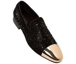 Asher Green Mens Tonal Crystal Covered Suede Slip-On, Gold M
