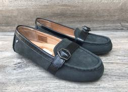 UGG Gwynith Mocassin Belted Loafers Women's 5/36 Black Suede