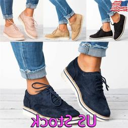 US Women Lace up Casual Pointed Toe Synthetic Oxfords Dress