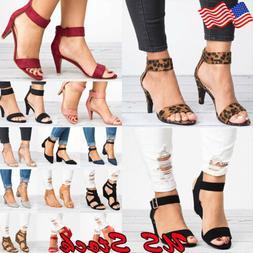 US Women's Open Toe Ankle Strap Chunky Low Heel Dress Sandal