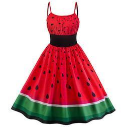 US Women's Retro Sling Rockabilly Watermelon Evening Party V