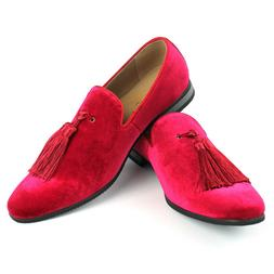 Velvet Slip On Loafers Handmade Tassel Modern Formal Mens Dr