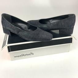 Vintage Costa Blanca Womens Low Heel Dress Shoes Black/Silve