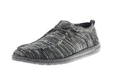wally knit 111274912 mens black canvas casual