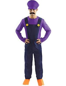 Adult Waluigi Super Mario Bad Plumbers Mate Fancy Dress Cost