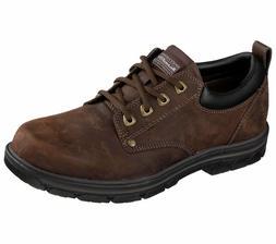 Skechers Wide Fit Brown shoes Men Memory Foam Leather Dress